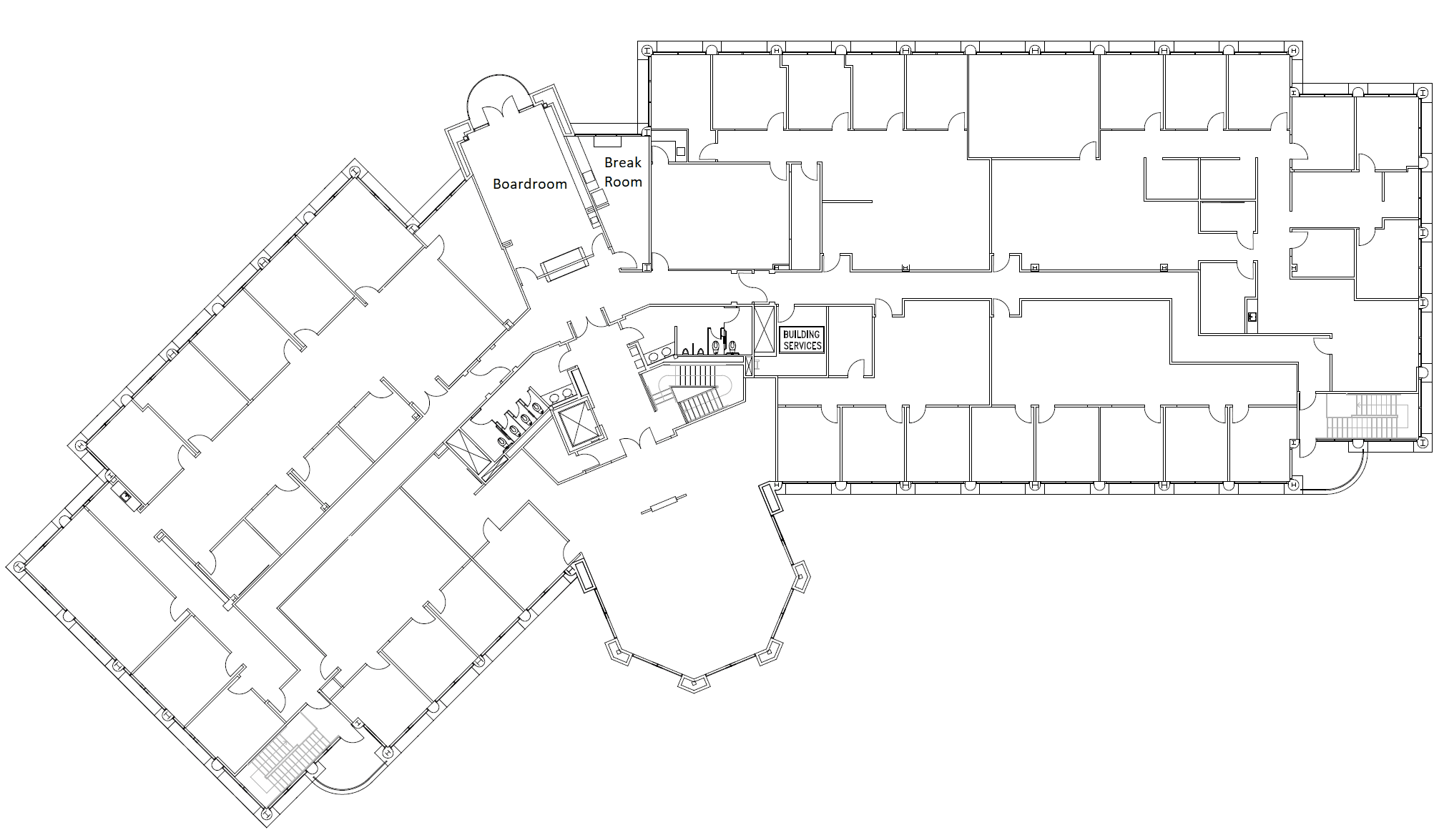 Floor plan of the 2nd floor at Privé Offices