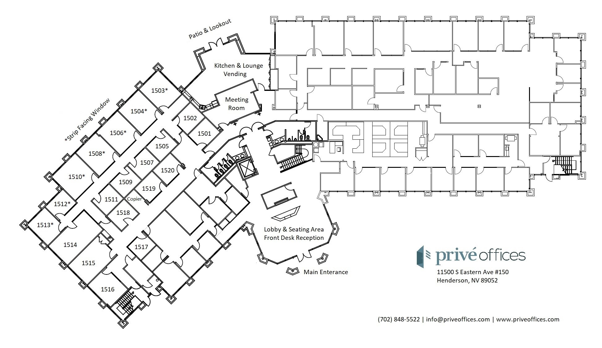 Floor plan at Privé Offices in Henderson, NV